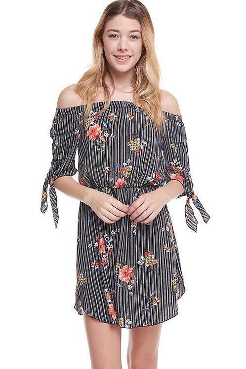 Floral Print Off Shoulder Tie Sleeve Dress
