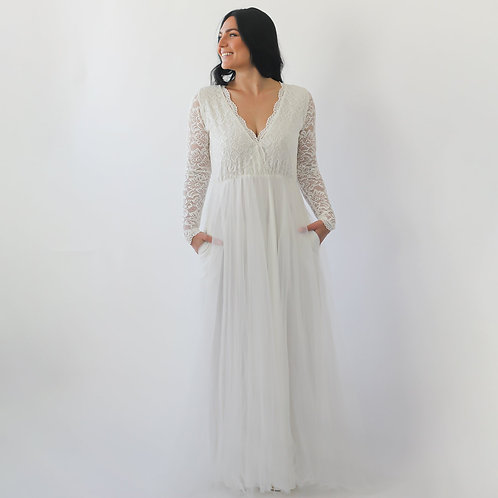 Curve & Plus Size Ivory Lace Long Sleeves Wedding Dress With Pockets , Tulle and