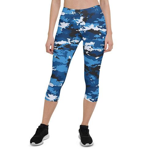 Blue Camo Capri Leggings for Women
