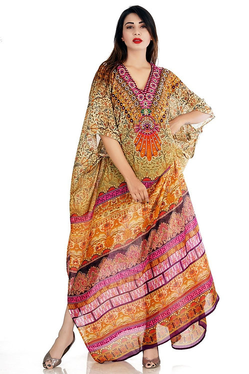 Boho Floral Maxi Silk Kaftan Dress With Artistic Geometric Patterns at the Botto