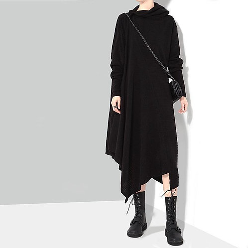 Bonhoeffer Asymmetrical Scarf Dress - Black