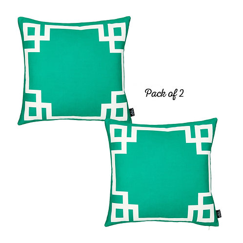 Geometric Green&White Square Throw Pillow Cover (Set of 2)