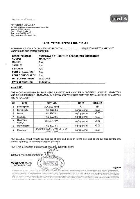 Refined Sunflower Oil certificate