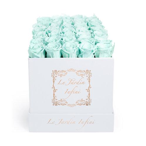 Baby Blue Preserved Roses - Medium Square White Box