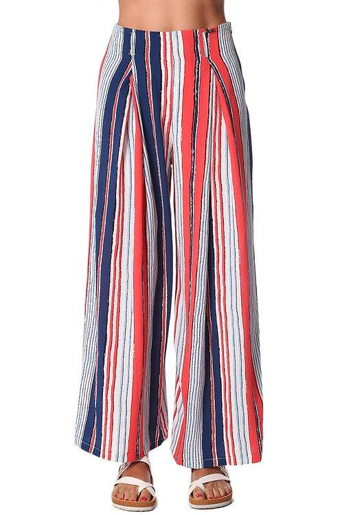 Red Wide Leg Pants in Stripe With Belt