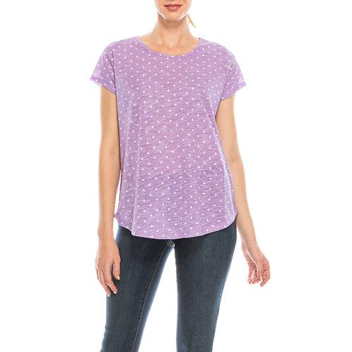 Urban Diction Crew Neck Pink Polk-Dot Short Sleeve Tee Shirt