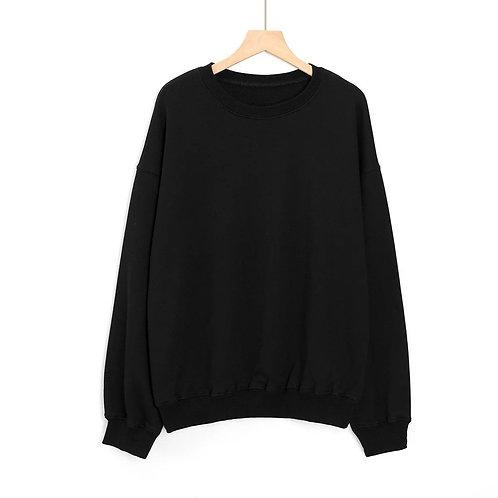 Letter Embroidery Women's Sweatshirt Black Long Sleeve Loose Large