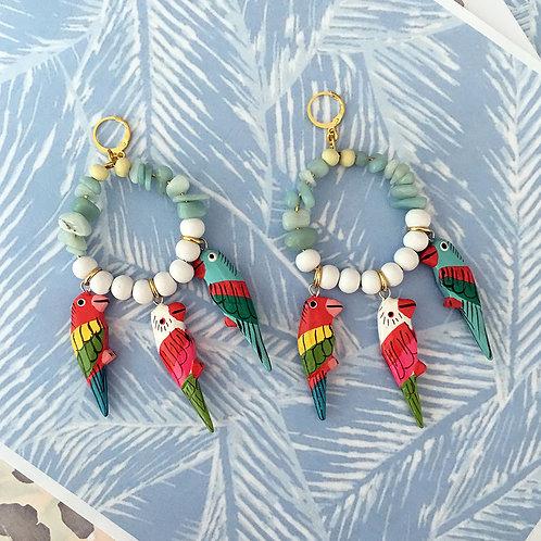 Blue Parrot Charm Earrings