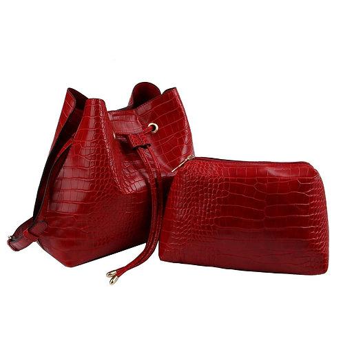Red Crocodile Cinch Sack Bag Set