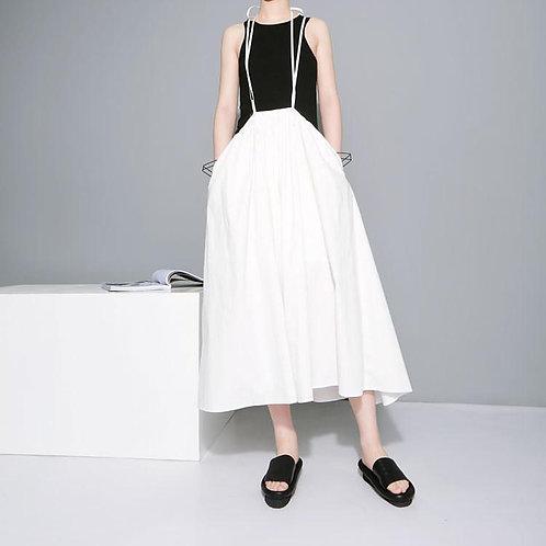 Baghy Tie Skirt Dress - White
