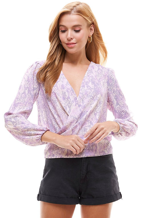 Snake Floral Tie Back Surplice Long Sleeve Blouse