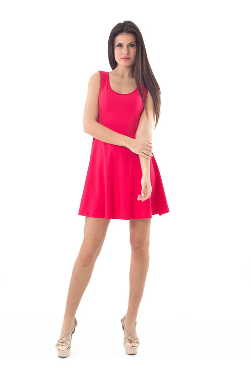 Bow Detail Skater Dress Red