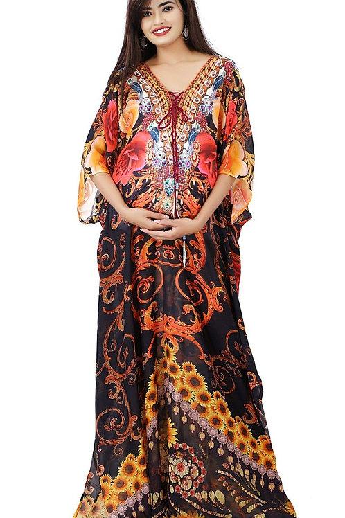 Bay Shower Kaftan Beautified by Bouquet of Flowers…Printed Long Silk Kaftan