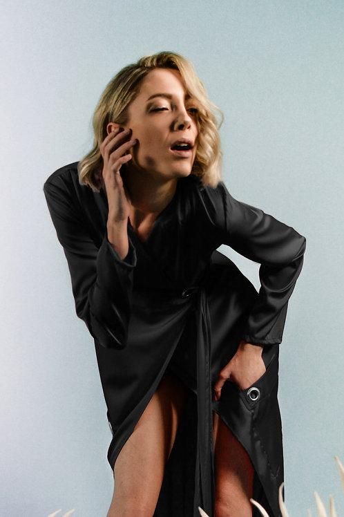 Black Silk Shirt Dress With Front Pockets
