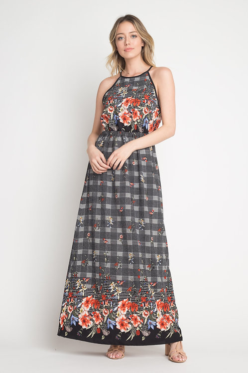 Bubble Crepe Floral Plaid Print Hi Neck Maxi Dress