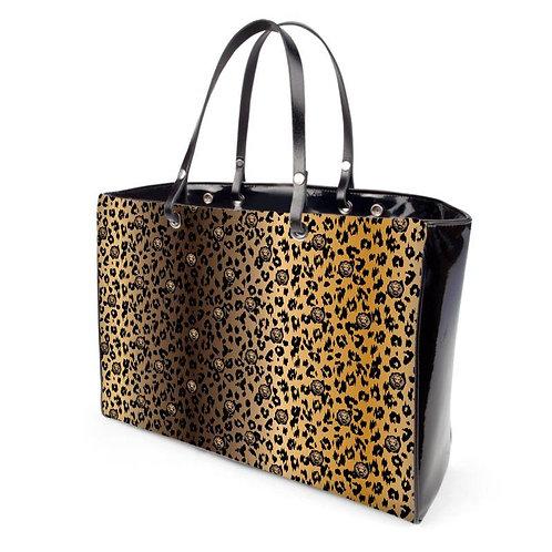 Beige Ombre Leopard Patent Handbag