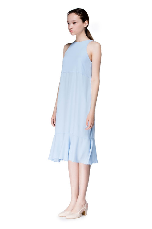 Round Neck Long Flounced Dress