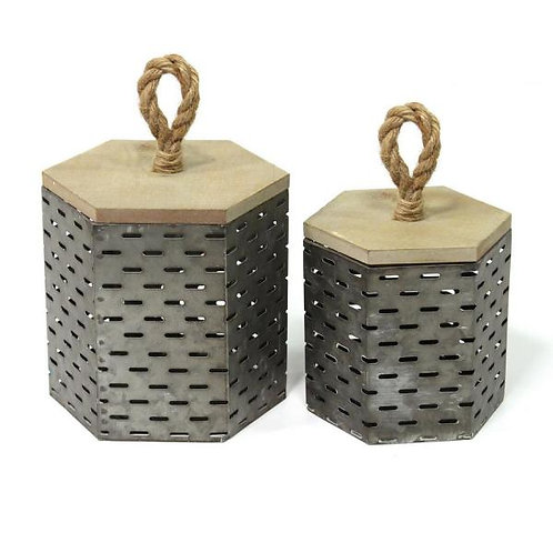 Metal Decorative Containers Set of 2