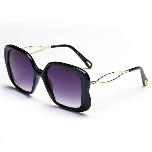 Black Purple Lens Square Glasses