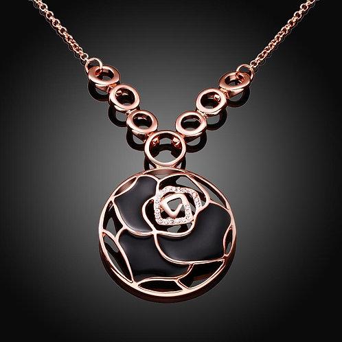 Black Laser Cut Flower Flower Necklace in 18K Rose Gold Plated