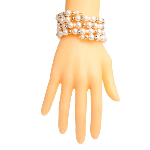 Cream Pearl and Gold Coil Bracelet