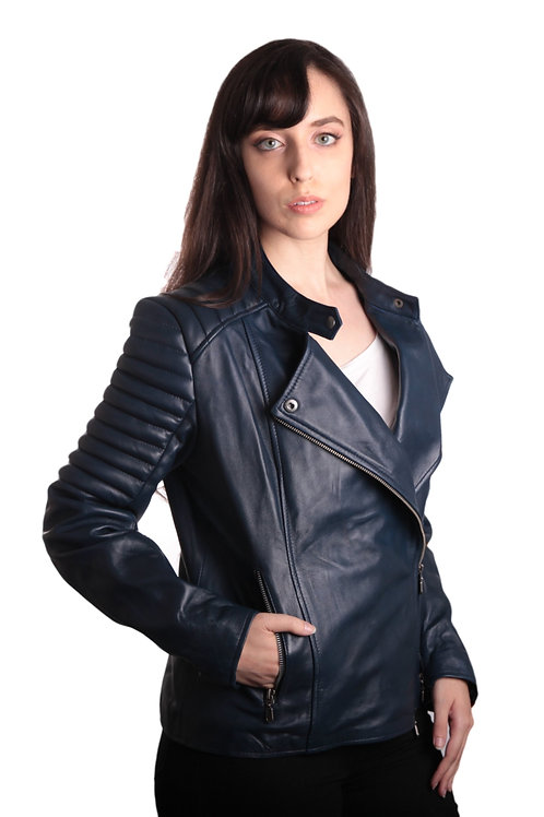 Ladies Bella Navy Blue Carla Leather Jacket