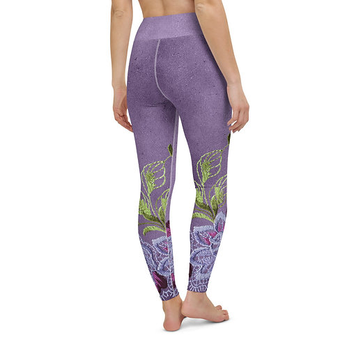High Waist Purple Vintage Lace Printed Leggings