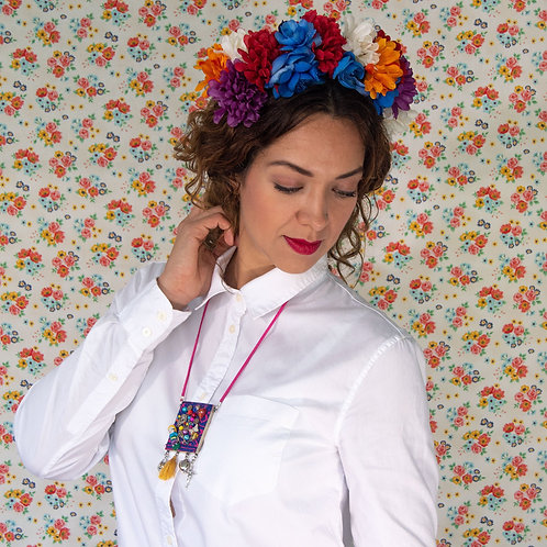 Mexican Medallion Necklace with Embroidered Doll.