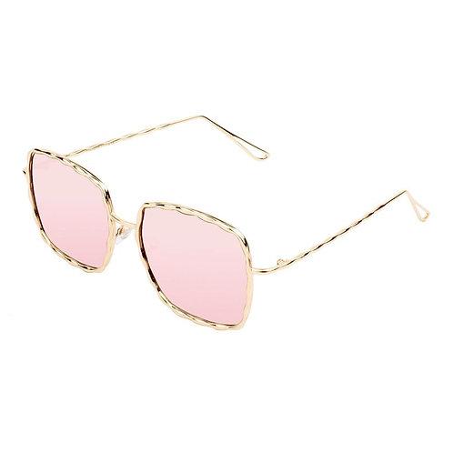 Pink Wavy Frame Square Glasses
