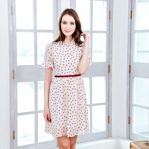 (Woman) Ruffled heart-shaped polka dot dress