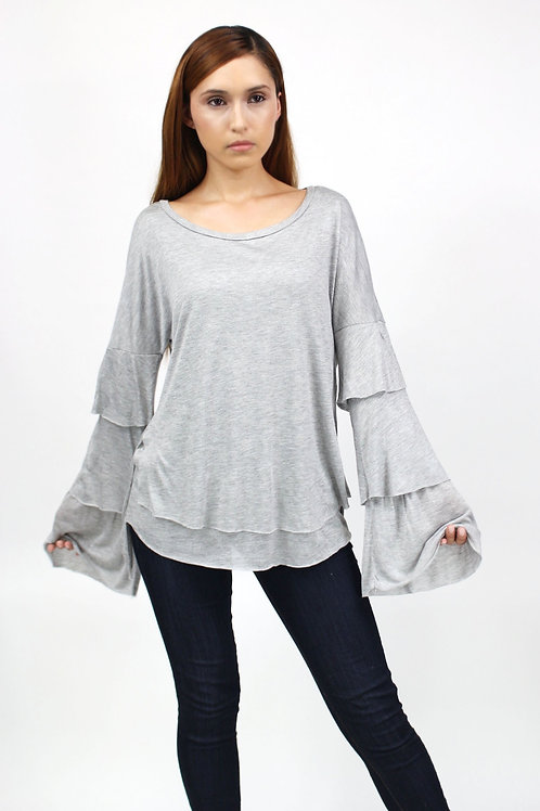 Layered Bell Sleeve Top Grey