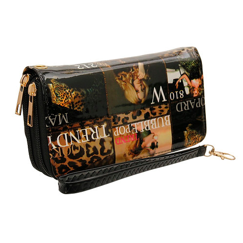 Leopard Magazine Print Wallet