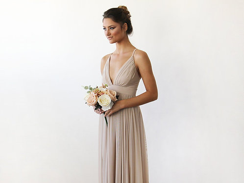 Chiffon meshMaxi Wrap With Thin Straps - Champagne Maxi Dress With Adjustable