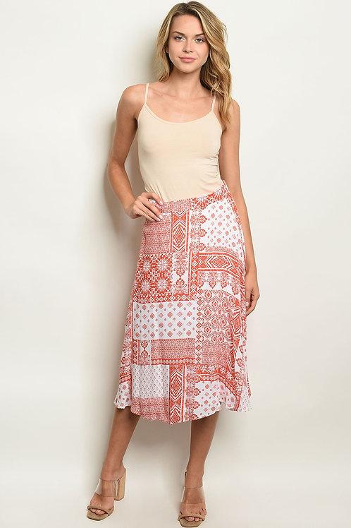 Womens Coral White Skirt
