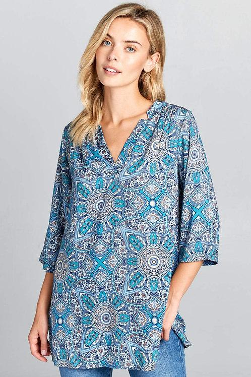 Blue Paisley Print Tunic Top