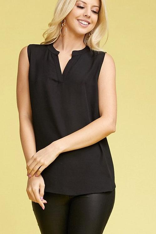 Carla high/low tank blouse in black