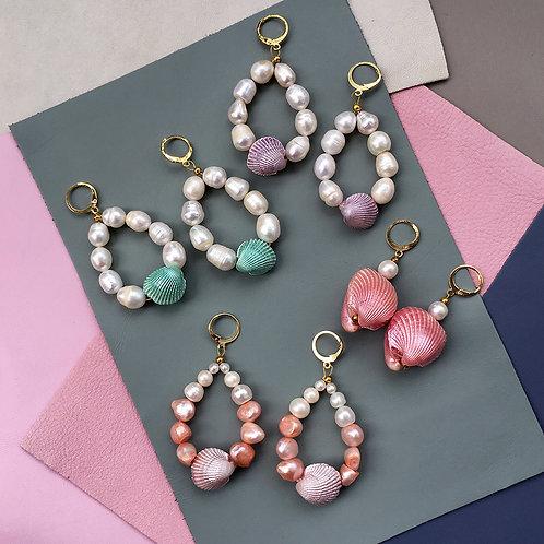 Candy Shell Pearl Earrings