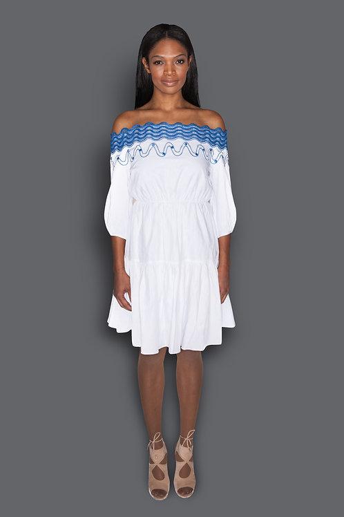 Scalloped Lace Off- Shoulder Cotton Dress