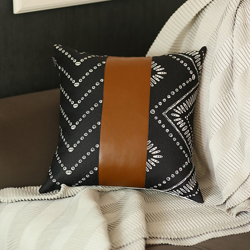 "Decorative Brown Vegan Faux Leather Square 17"" Throw Pillow Cover"