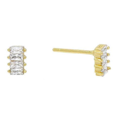 4 Stone White Topaz Baugette Stud Earring