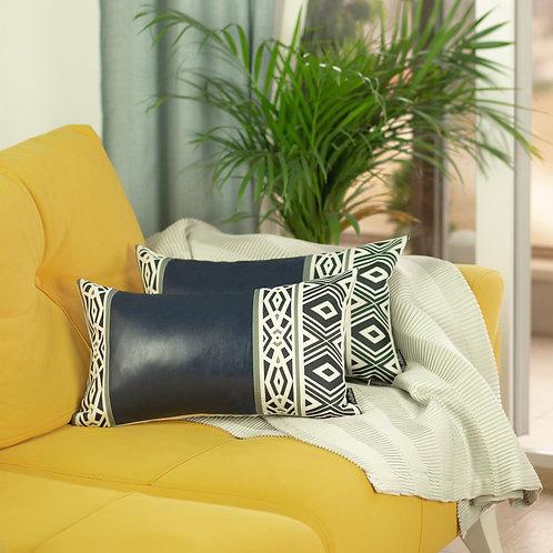Decorative Navy Blue Vegan Leather Lumbar Throw Pillow Cover (Set of