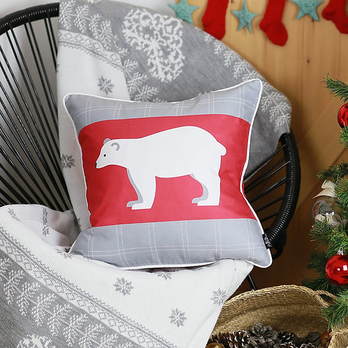 "Christmas Bear Square 18"" Throw Pillow Cover"