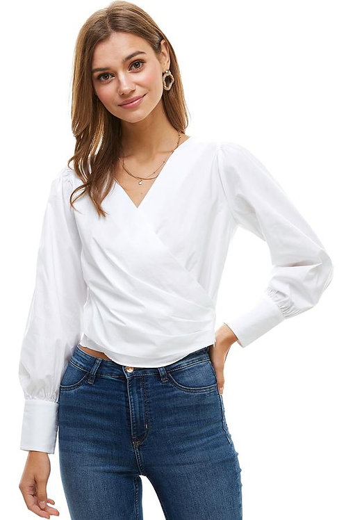 Long Puff Sleeves Surplice Blouse