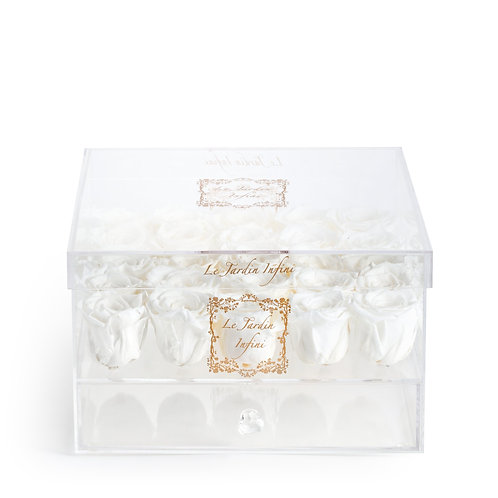 25 White Preserved Roses - Acrylic Box With Drawer