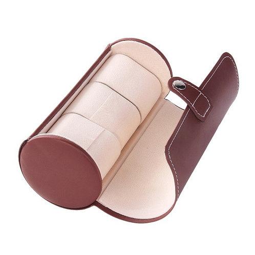 3 Grids Brown Black Color Cylinder Shape Leather
