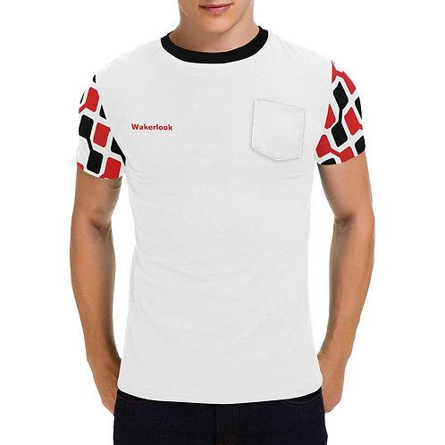 Wakerlook Men's Red Black Patch Pocket T-Shirt