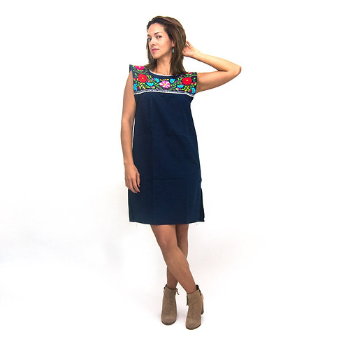 Elvira, Hand Embroidered Mexican Loose Dress
