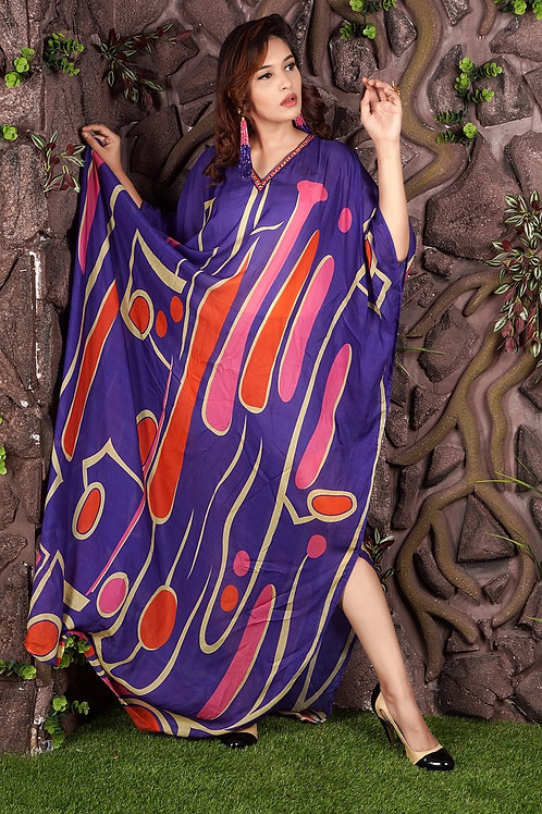 Abstract Print Party Dress Caftan Plus Size Beach Wear Resort Wear Caftan Womens