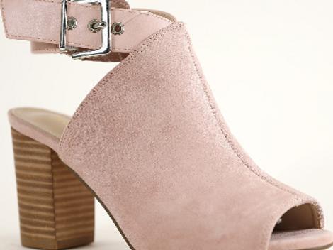 Peep toe chunky heel sandals in blush