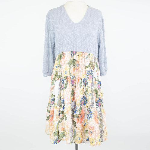 3/4 Sleeve Flared Floral Print Dress